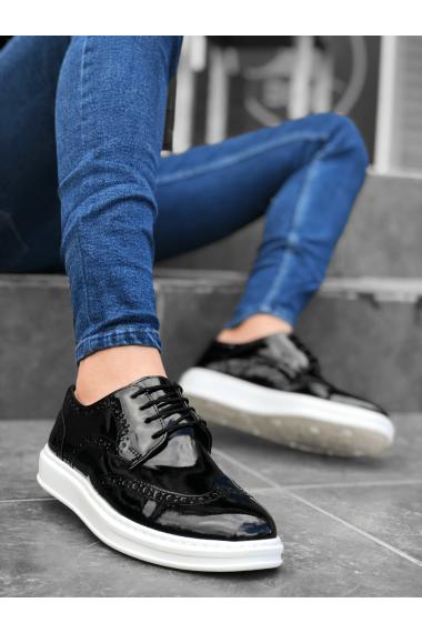 BA0003 Bağcıklı Klasik  Siyah Beyaz Taban Rugan Yüksek Taban Casual Erkek Ayakkabı