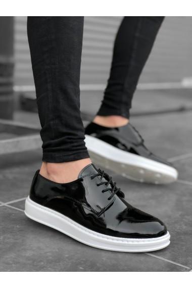 BA0003 Bağcıklı Klasik  Siyah Rugan Yüksek Taban Casual Erkek Ayakkabı