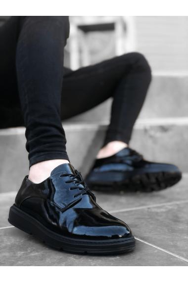 BA0003 Bağcıklı Klasik  Siyah Siyah Taban Rugan Yüksek Taban Casual Erkek Ayakkabı