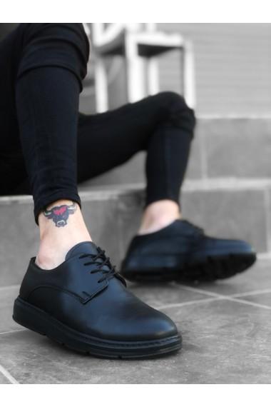 BA0003 Bağcıklı Klasik Siyah Yüksek Siyah Taban Casual Erkek Ayakkabı