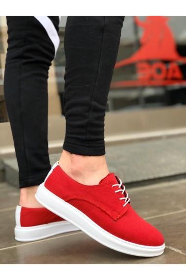 BA0003 Bağcıklı Klasik Spor Keten Kırmızı Beyaz Yüksek Taban Casual Erkek Ayakkabı