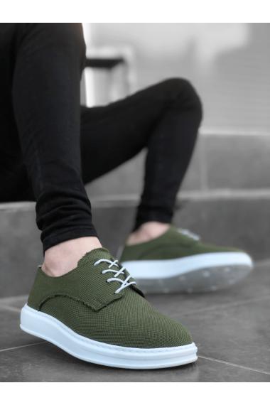 BA0003 Bağcıklı Klasik Spor Keten Yeşil Beyaz Yüksek Taban Casual Erkek Ayakkabı