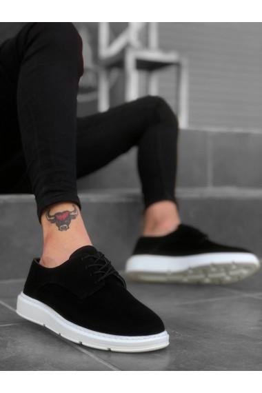 BA0003 Bağcıklı Klasik Spor Süet Siyah Beyaz Yüksek Taban Casual Erkek Ayakkabı