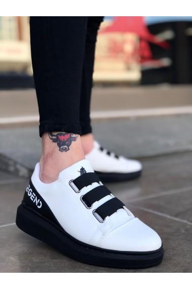 BA0029 3 Bant Legend Beyaz Siyah Kalın Taban Casual Erkek Ayakkabı