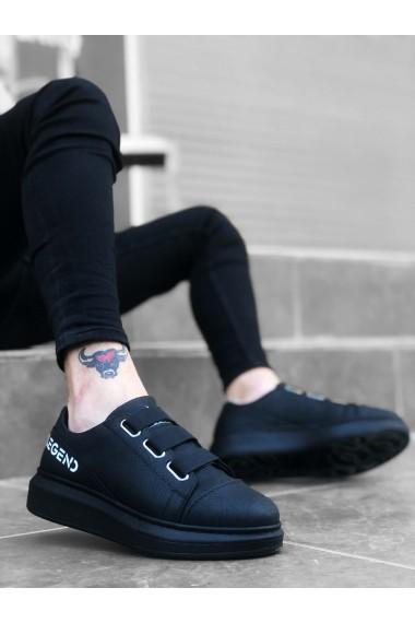 BA0029 3 Bant Legend Siyah Kalın Taban Casual Erkek Ayakkabı