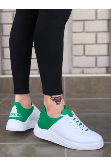 BA0031 Sneakers Beyaz Yeşil Kalın Taban Casual Erkek Ayakkabı