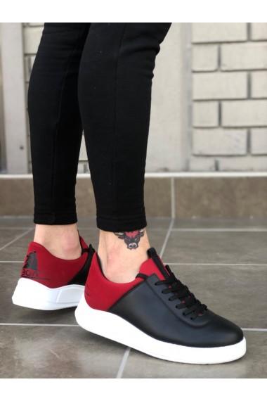 BA0031 Sneakers Siyah Kırmızı Beyaz Taban Casual Erkek Ayakkabı