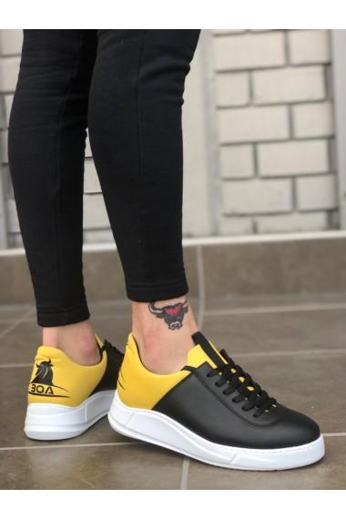 BA0031 Sneakers Siyah Sarı Beyaz Taban Casual Erkek Ayakkabı