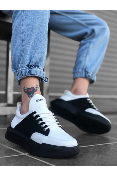 BA0163 Bağcıklı Erkek Yüksek Taban Beyaz Siyah Spor Ayakkabı