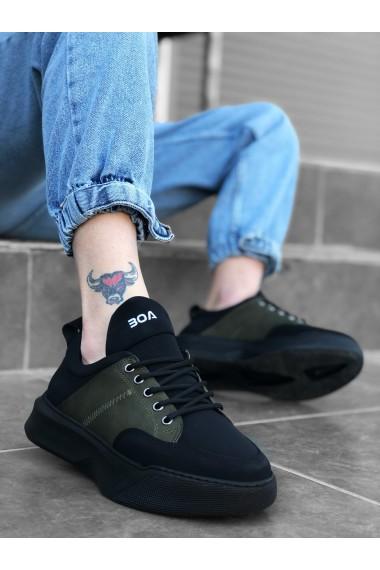 BA0163 Bağcıklı Erkek Yüksek Taban Siyah Haki Spor Ayakkabı