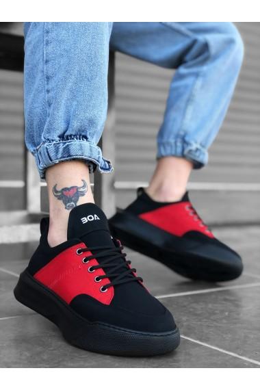 BA0163 Bağcıklı Erkek Yüksek Taban Siyah Kırmızı Spor Ayakkabı