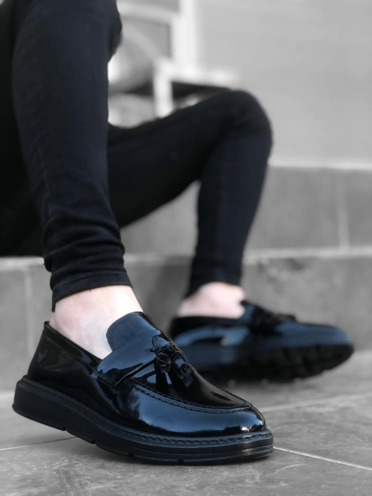 BA0005 Bağcıksız Yüksek Taban Klasik Rugan Kemerli Püsküllü Erkek Ayakkabı