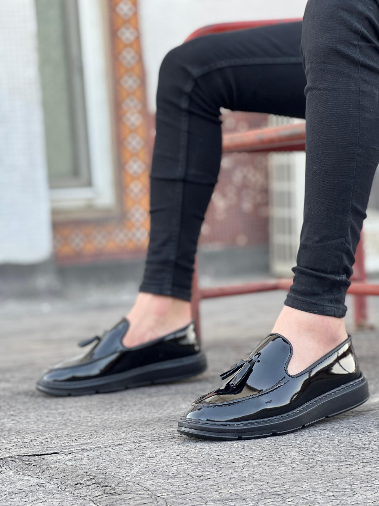BA0005 Yüksek Taban Siyah Rugan Klasik Püsküllü Erkek Ayakkabısı