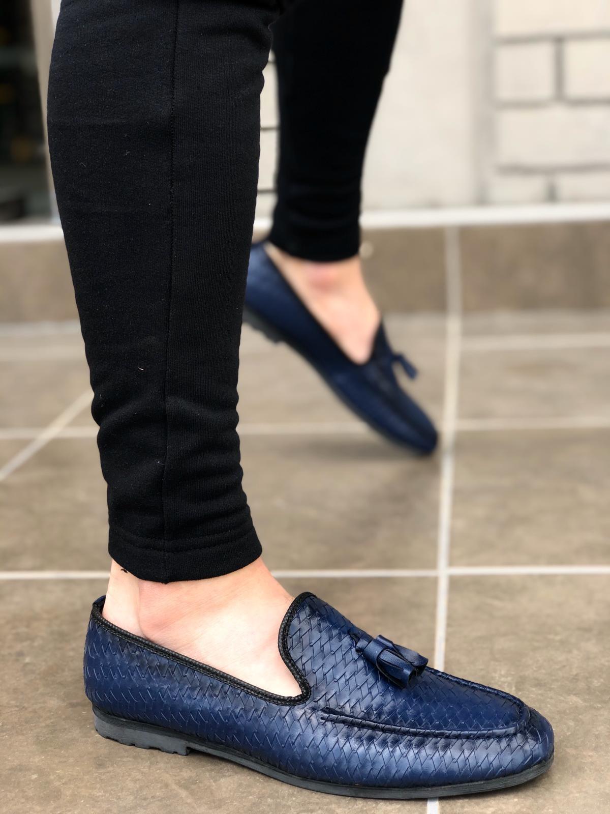 BA0009 Püsküllü Corcik Lacivert Klasik Erkek Ayakkabısı