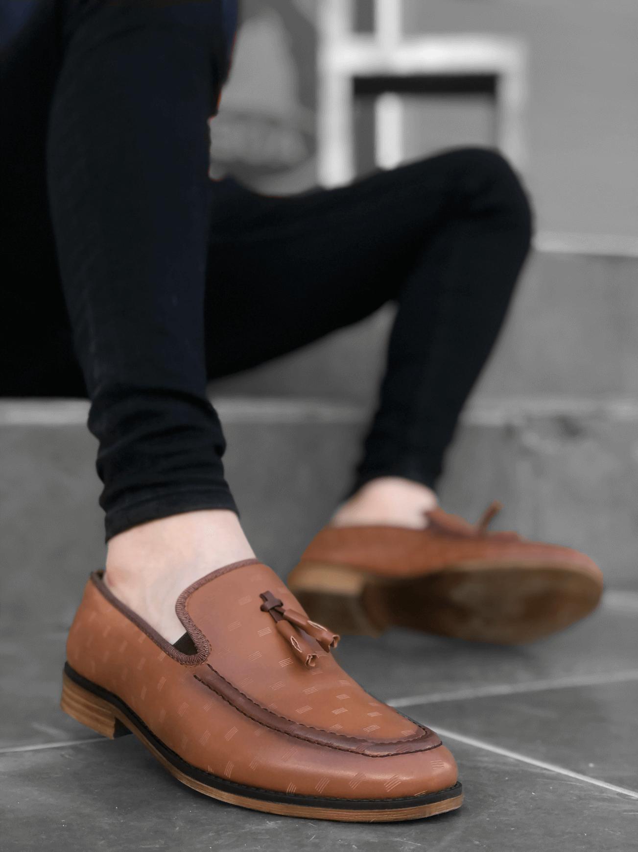 BA0116 BOA Klasik Püsküllü Corcik Taba Erkek Ayakkabı