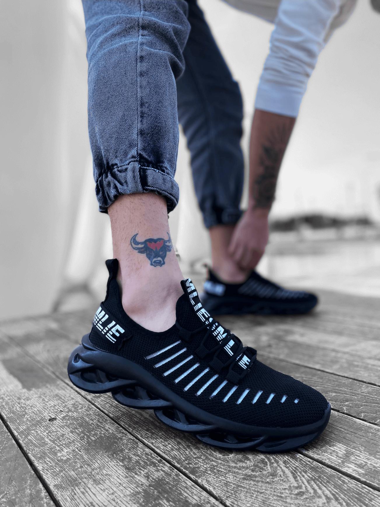 BA0602 Phantom Kalın Taban Tarz Sneakers Siyah Spor Ayakkabısı